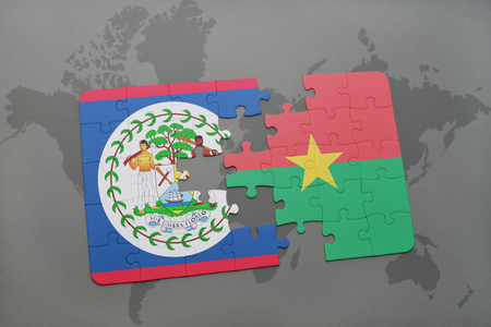 puzzle with the national flag of belize and burkina faso on a world map background. 3D illustration