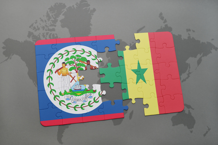 dakar: puzzle with the national flag of belize and senegal on a world map background. 3D illustration