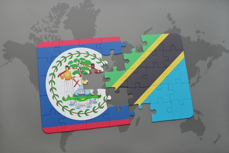 puzzle with the national flag of belize and tanzania on a world map background. 3D illustration