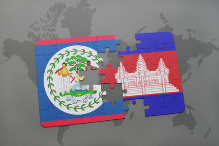 cambodian: puzzle with the national flag of belize and cambodia on a world map background. 3D illustration