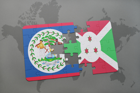 puzzle with the national flag of belize and burundi on a world map background. 3D illustration Stock Photo
