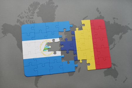 puzzle with the national flag of nicaragua and chad on a world map background. 3D illustration