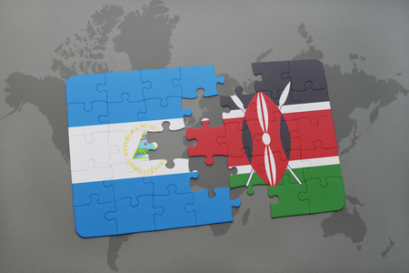 puzzle with the national flag of nicaragua and kenya on a world map background. 3D illustration