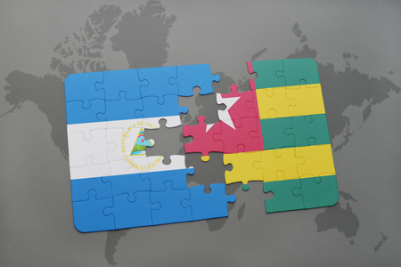 puzzle with the national flag of nicaragua and togo on a world map background. 3D illustration