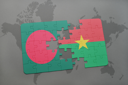 puzzle with the national flag of bangladesh and burkina faso on a world map background. 3D illustration