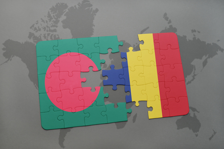chad: puzzle with the national flag of bangladesh and chad on a world map background. 3D illustration Stock Photo