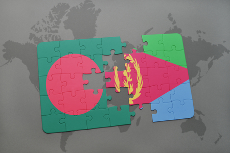 eritrea: puzzle with the national flag of bangladesh and eritrea on a world map background. 3D illustration