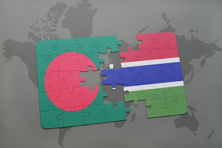 puzzle with the national flag of bangladesh and gambia on a world map background. 3D illustration