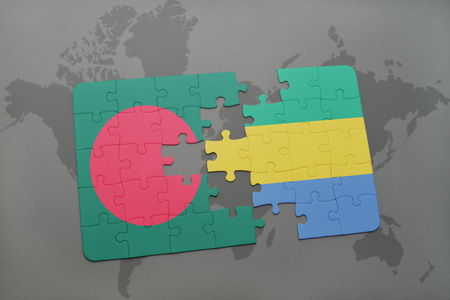 puzzle with the national flag of bangladesh and gabon on a world map background. 3D illustration