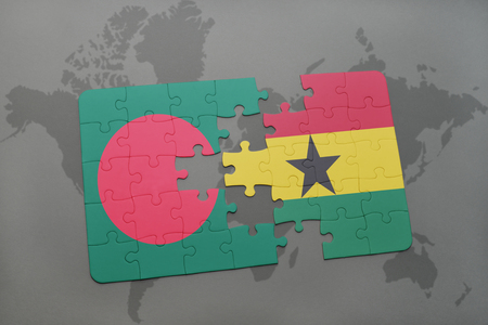 puzzle with the national flag of bangladesh and ghana on a world map background. 3D illustration