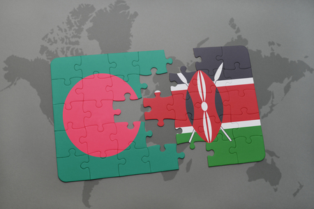 puzzle with the national flag of bangladesh and kenya on a world map background. 3D illustration