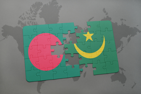 puzzle with the national flag of bangladesh and mauritania on a world map background. 3D illustration