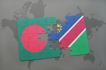 puzzle with the national flag of bangladesh and namibia on a world map background. 3D illustration