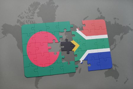 puzzle with the national flag of bangladesh and south africa on a world map background. 3D illustration Stock Photo
