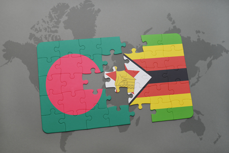puzzle with the national flag of bangladesh and zimbabwe on a world map background. 3D illustration