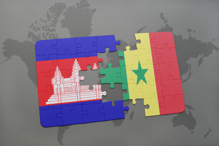 dakar: puzzle with the national flag of cambodia and senegal on a world map background. 3D illustration