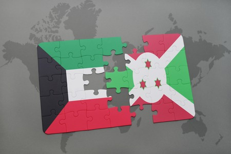 puzzle with the national flag of kuwait and burundi on a world map background. 3D illustration