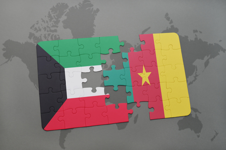 puzzle with the national flag of kuwait and cameroon on a world map background. 3D illustration