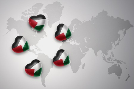 five hearts with national flag of palestine on a world map background..concept.3D illustration