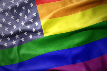 waving colorful united states of america rainbow gay pride flag banner