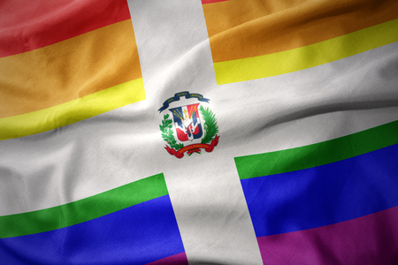 waving dominican republic colorful rainbow gay pride flag banner Stock Photo