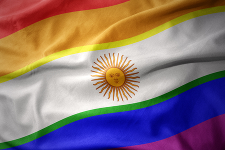 waving colorful argentina rainbow gay pride flag banner