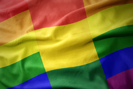 waving colorful bolivia rainbow gay pride flag banner Imagens - 96375973