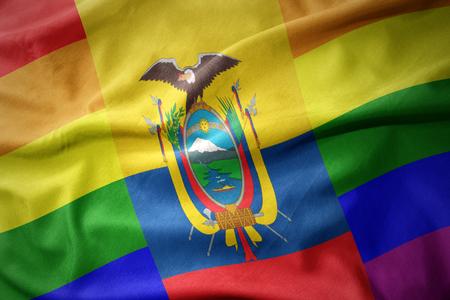 waving colorful ecuador rainbow gay pride flag banner Stock Photo