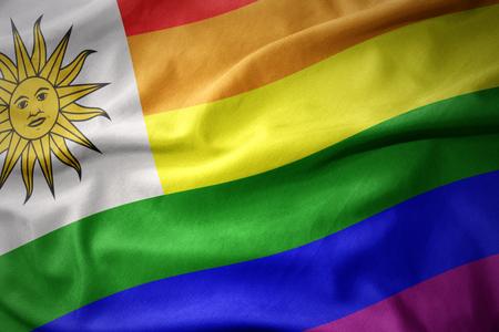 waving colorful uruguay rainbow gay pride flag banner