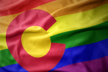 waving colorado state colorful rainbow gay pride flag banner