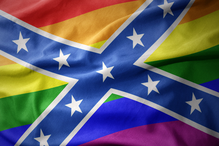 waving confederate jack colorful rainbow gay pride flag banner Stock Photo