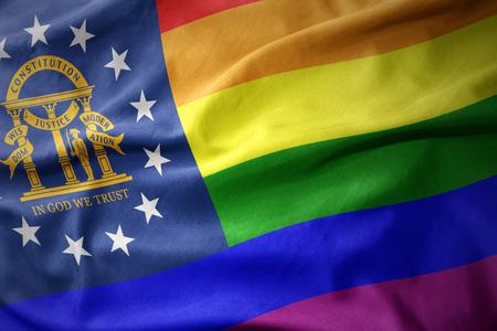 waving georgia state colorful rainbow gay pride flag banner