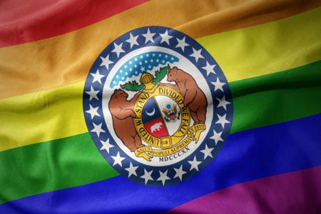 waving missouri state colorful rainbow gay pride flag banner