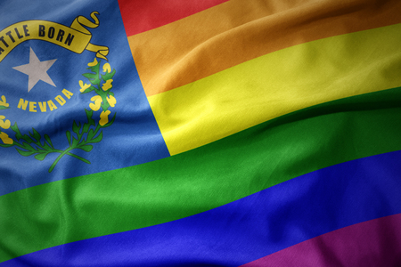waving nevada state colorful rainbow gay pride flag banner