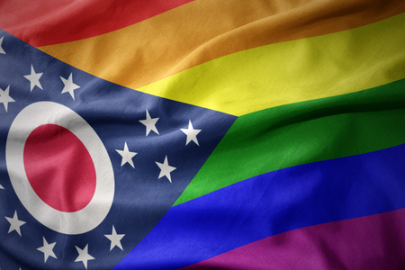 waving ohio state colorful rainbow gay pride flag banner