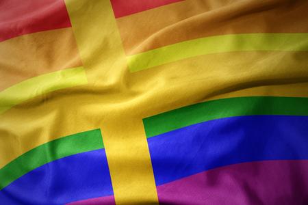 waving sweden colorful rainbow gay pride flag banner