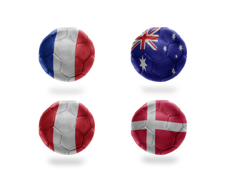 soccer team group C . realistic football balls with national flags of france, australia, peru, denmark
