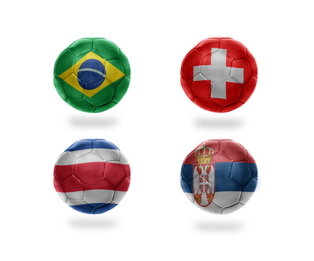 soccer team group E . realistic football balls with national flags of brazil, switzerland, costa rica, serbia
