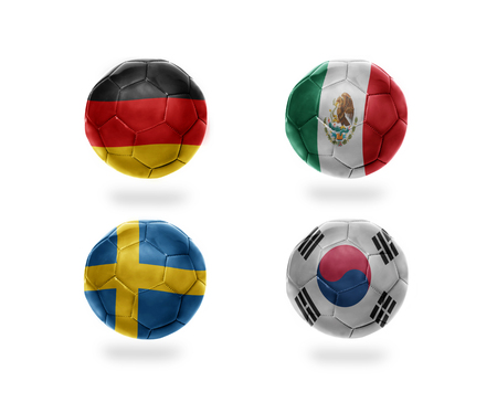 soccer team group F . realistic football balls with national flags of germany, mexico, sweden, south korea