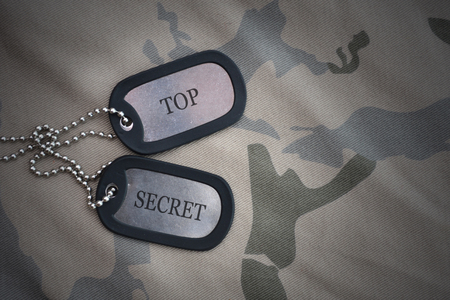 army blank, dog tag with text top secret on the khaki texture background. military concept Stock Photo
