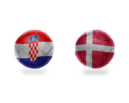 football balls with national flags of croatia and denmark.isolated on the white background