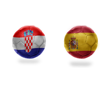 football balls with national flags of croatia and spain.isolated on the white background. 3D illustration