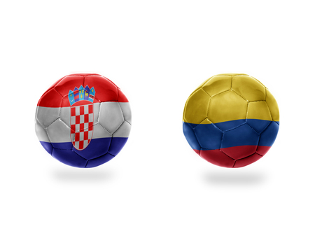 football balls with national flags of colombia and croatia.isolated on the white background. 3D illustration