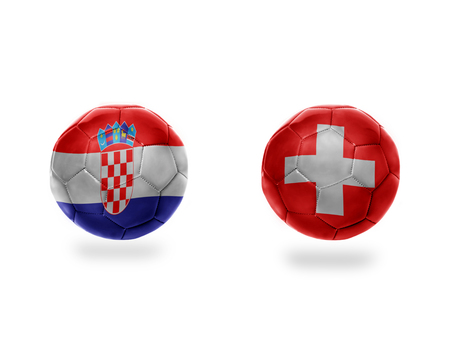 football balls with national flags of switzerland and croatia.isolated on the white background. 3D illustration