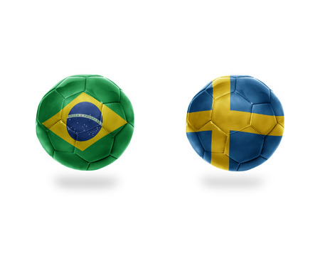 football balls with national flags of brazil and sweden.isolated on the white background. 3D illustration