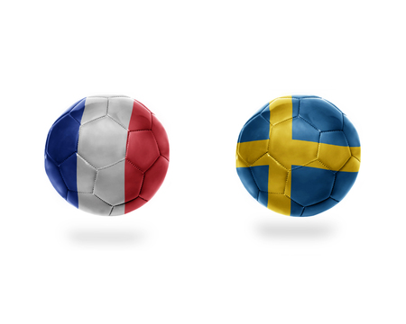 football balls with national flags of france and sweden.isolated on the white background. 3D illustration Stock Photo