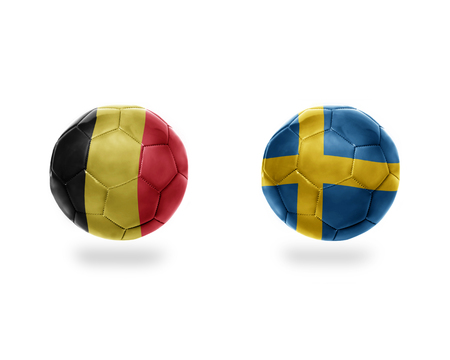 football balls with national flags of belgium and sweden.isolated on the white background. 3D illustration