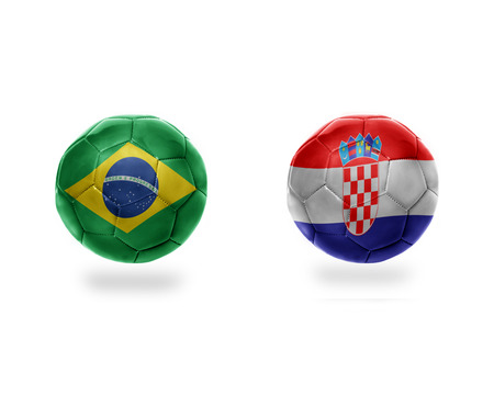 football balls with national flags of brazil and croatia.isolated on the white background. 3D illustration