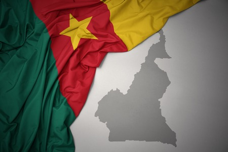 waving colorful national flag of cameroon on a gray map background. 3D illustration