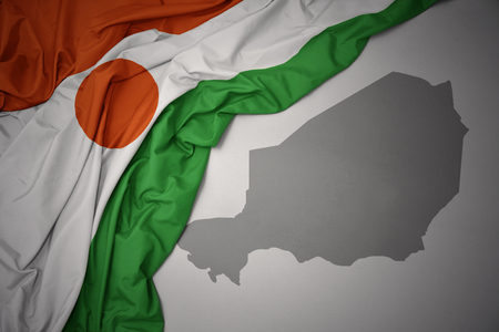 waving colorful national flag of niger on a gray map background. 3D illustration